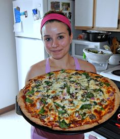 Pizza can be healthy! Whole wheat crust. Quick and easy. Lots of veggies. For pizza lovers :) 3 cups of flour (I use wheat flour) 1 tbsp. active dry yeast 1 tsp. salt 1 tbsp. white sugar 1 cup warm water 2 tbsp. Olive Oil Mix all dry ingredients and then add the oil and water Oil Mix, Pizza Party, Dry Yeast, Skinny Recipes, 1 Cup, Olive Oil, Workouts, Food Ideas, Recipies