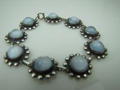 Art Deco Moonstone Sterling Silver Bracelet. Dreamy Blue Moonglow Cabochons . 1930s Art Deco Jewelry Wedding Jewelry by MercyMadge on Etsy