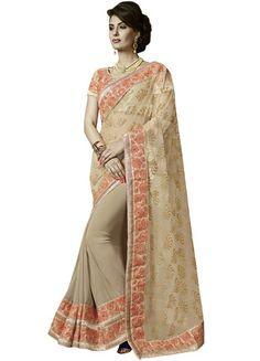 Beige & Peach Net & Georgette Saree ,Indian Dresses