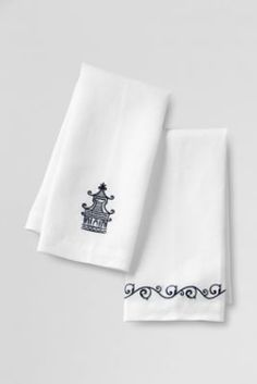Embroidered Pagoda Linen Guest Towels (Set of 2) from Lands' End