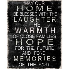 Home Blessed With The Laughter The Warmth Of Close Families Hope For The Future And Fond Memories Of The Past Sign