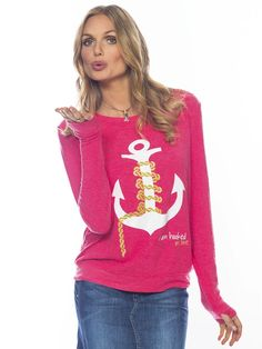 I am Hooked On Love Deep Pink Oversized Comfy Top #nautical #summer #peaceloveworld