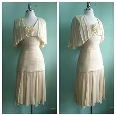 Vintage Mignon Silk Chiffon 20s Inspired Wedding Flapper Dress / Size Small / 2 - 4