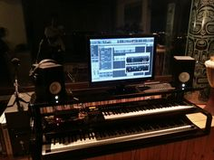 finally a day to design and produce the perfect home studio audio stand for all the creative gear - stage piano, MIDI controllers, near-filed monitors, multi-touch display and tablet, digital server, fiber net router and more...