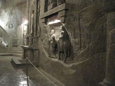 Wieliczka Salt Mines in Poland. Chapel of the Blessed Kinga. Everything is carved from salt, including chandeliers!!!