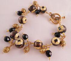 Yellow Glass Bracelet Black Glass Bracelet Gold Bracelet by Rumis, $20.00