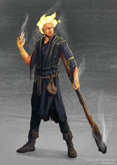 """""""A Fire Genasi, looking to be of a human middle aged, created when a great evil tried to meld the power of the fire elementals and a captured ancient Brass Dragon. The resulting experiment wrought ..."""