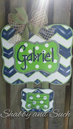 Baby Door Hanger Personalized Chevron and by shabbyandsuchdesigns