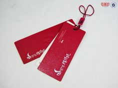 Logo Embossed Silver Hot Stamping Red Hang Tag With Silver Logo String Tag