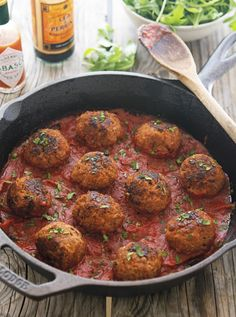 Bloody Mary Meatballs- horseradish, tomato paste, Worcestershire, Tabasco, and celery salt — all the makings of a good Bloody Mary