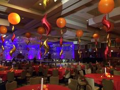 Fire themed centerpieces for a Fire and Ice themed banquet | Balloons by Tommy | #balloonsbytommy
