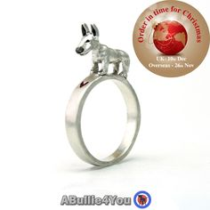 English Bull Terrier Dog Stack Ring (Can be customized to resemble your own dogs markings) 925 sterling silver. Ideal Christmas gift by ABullie4You on Etsy https://www.etsy.com/listing/250949769/english-bull-terrier-dog-stack-ring-can