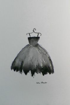 Titled.......Lil Black Dress I Feel Pretty Romantic Art, painted in hand mixed Watercolor paints. Soft & Delicate watercolor painting. Its Picnic