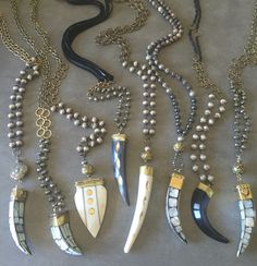 Assorted horn necklaces. All one of a kind. Wholesale and retail inquiries lisajilljewelry@gmail.com
