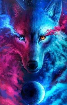 Artwork Lobo, Wolf Artwork, Fantasy Wolf, Dark Fantasy Art, Mythical Creatures Art, Fantasy Creatures, Cute Animal Drawings, Cute Drawings, Wolf Background