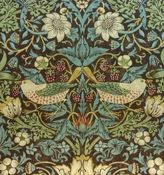 Ihave two cushions with this on in two different colours William-Morris-Vintage-Wallpaper-Strawberry-Thief-Chocolate-Slate-sold-per-roll Arts And Crafts For Adults, Arts And Crafts House, Easy Arts And Crafts, Art And Craft Design, Design Crafts, The Strawberry Thief, Strawberry Fields, Vintage Wallpaper, Wallpaper Ideas