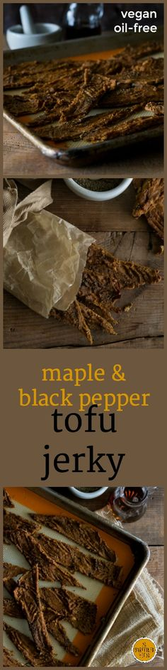 Savory and satisfying Oil-free Maple-Black Pepper Tofu Jerky from An Unrefined Vegan. Delicious Vegan Recipes, Raw Food Recipes, Healthy Recipes, Free Recipes, Sandwich Fillers, Vegan Jerky, Vegetarian Comfort Food, A Food, Vegan Food