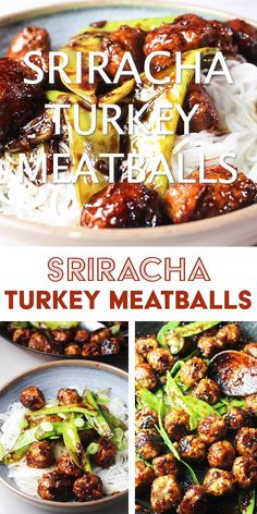 These sticky, sweet and spicy Asian meatballs, glazed with a sriracha and honey sauce make an easy weeknight dinner, or a crowd-pleasing party appetizer! Healthy Turkey Recipes, Beef Recipes, Cooking Recipes, Minced Turkey Recipes, Meatball Recipes, Recipies, Ground Turkey Dinners, Ground Turkey Meatballs, Healthy Turkey Meatballs