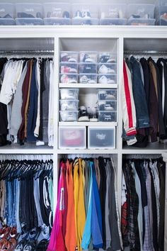 Every now and again, we get to organize the husband's side of the closet. It's usually the bottom of the priority list, but only because he says so. The wife,. Mens Closet Organization, Dresser Organization, Home Organisation, Closet Drawers, Pull Out Drawers, Closet Office, Men Closet, Closet Labels, Make A Closet