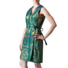 Shubrah, Emerald Green Upcycled Sari Silk Wrap Bridesmaids Dress