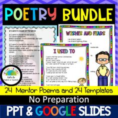 Poetry MEGA-Bundle Mentor Poems & Templates by Bilingual English or Spanish