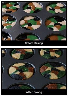 Mama's Style: Kids Parties/ My son would love these! Camouflage Cupcakes, Camo Cupcakes, Yummy Cupcakes, Cupcake Cakes, Army Cake, Delicious Desserts, Yummy Food, Hunting Birthday, Hunting Party