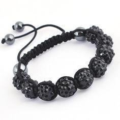 45mm Black Clay Crystal Disco Ball Beads Cords Bracelet