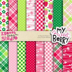 My Sweet Berry Papper Set  - lovely set of 16 digital papers in stylish color combination with spring floral and strawberry designs, this set can be used as embellishments for invitations, cards, stationery, scrapbooking etc.