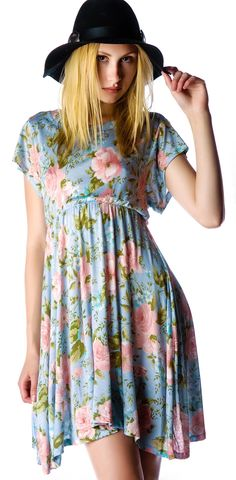 grunge rose valley of the doll dress - with a scooped neck