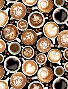 Food Fabric Coffee Cup Latte Art Black Timeless Treasures YARD - Cupping Coffee - Ideas of Cupping Coffee - Food Fabric Coffee Cup Latte Art Black Timeless Treasures YARD Price : Coffee Latte Art, I Love Coffee, Coffee Cafe, Coffee Shop, Coffee Mugs, Espresso, Timeless Treasures Fabric, Watermelon Carving, Good Morning Coffee
