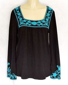 INC Multi-Color Tunic Shirt Top Blouse L Large Black Teal Embroidered Cotton   #INCInternationalConcepts #Blouse #Any