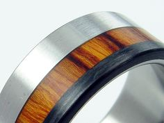 Carbon Fiber and Wood and Titanium Wedding Ring