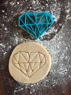 Image of Geometric Heart Cookie Stamp Geometric Heart, Heart Cookies, Wedding Cookies, Cookie Decorating, Cookie Cutters, Cake Toppers, Diy And Crafts, Stamp, Baking