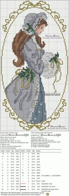 point de croix femme romantique hiver - cross-stitch romantic winter woman