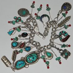 Sterling Silver Zuni Navajo Signed Native American Turquoise Charm Bracelet
