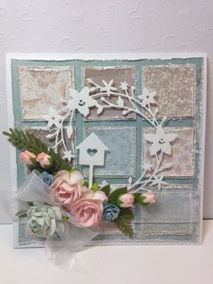 Patchwork blue and pink