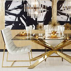Mod glam white, black, gold dining room.  Z Gallerie