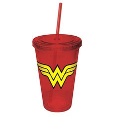 Wonder Woman Cup With Straw