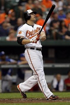 Baltimore Orioles' Chris Davis watches his solo home run in the 2nd inning of a baseball game against the Texas Rangers, Thursday, July 11, 2013, in Baltimore. (AP Photo/Patrick Semansky)