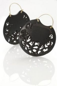 Whitby Jet Earrings from  Jacqueline Cullen, United Kingdom~ hand carved whitby jet earrings with embedded Swarovski crystals, 18ct gold fittings & wires... lovely!