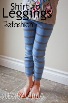 Shirt to leggings refashion sew me выкройки, одежда, шитье Diy Clothes Refashion, Diy Clothing, Sewing Clothes, Refashioned Clothes, Sewing Shirts, Sewing Hacks, Sewing Tutorials, Sewing Projects, Fleece Projects