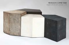PENTAGON IN PARCHMENT, SHAGREEN AND WOOD