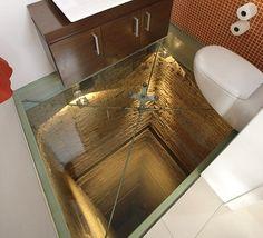 WC con suelo de cristal sobre hueco de 15 pisos de altura