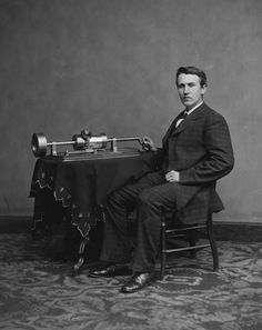 Thomas Edison :   This photo of a young Edison was taken with the phonograph that he invented. He was most famous for inventing a long-lasting, practical lightbulb. Date: 1877-1878. Photographer: Levin C. Handy.