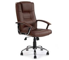 Kirk Chrome and Brown Leather Executive Chair