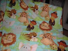Baby jungle animals in aqua fleece blanket LARGE SIZE 60 x 60