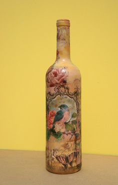Lovely hand decorated wine glass bottle . Painted by IrART on Etsy, $23.00