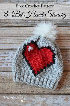 FREE Crochet Pattern: Crochet Heart Slouchy A little bit of Valentine's Day, a little bit of geek, this cute heart hat is fun for all. Crochet Adult Hat, Bonnet Crochet, Crochet Beanie, Cute Crochet, Crochet Crafts, Yarn Crafts, Knitted Hats, 8 Bit Crochet, Crochet Geek