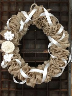 Pinned for the ribbon idea to maybe add somewhere   DIY180: How To Make A Burlap Wreath