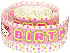 """[Single Pack] Crepe Paper Streamer Roll """"Hello Kitty Polka Dot Birthday Design"""" for Decoration and Craft Supply with 30' Ft / 9.1 M Length {Pink, Yellow, Green, and Blue Colors) mySimple Products http://www.amazon.com/dp/B014LHV26S/ref=cm_sw_r_pi_dp_pRSJwb0VNYD98"""